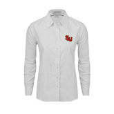 Ladies White Oxford Shirt-SLU