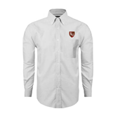 Mens White Oxford Long Sleeve Shirt-SLU Shield
