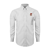 Mens White Oxford Long Sleeve Shirt-SLU Flag