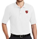 White Easycare Pique Polo-Official Shield