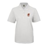 Ladies Easycare White Pique Polo-SLU Flag