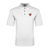White Performance Fine Jacquard Polo-Official Logo