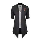 Ladies Grey Drape Front Cardigan-SLU Flag