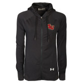 Ladies Under Armour Black Varsity Full Zip Hoodie-SLU