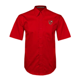 Red Twill Button Down Short Sleeve-Official Shield