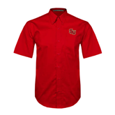Red Twill Button Down Short Sleeve-SLU