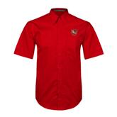 Red Twill Button Down Short Sleeve-SLU Shield