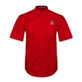 Red Twill Button Down Short Sleeve-SLU Flag