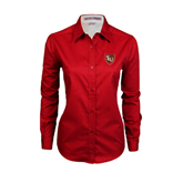 Ladies Red Twill Button Down Long Sleeve-SLU Shield
