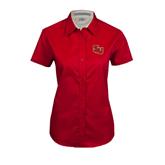 Ladies Red Twill Button Up Short Sleeve-SLU
