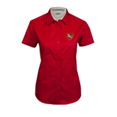 Ladies Red Twill Button Up Short Sleeve-SLU Shield