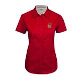 Ladies Red Twill Button Up Short Sleeve-SLU Flag