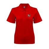 Ladies Easycare Red Pique Polo-SLU Shield