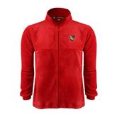 Fleece Full Zip Red Jacket-SLU Shield