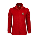 Ladies Fleece Full Zip Red Jacket-SLU Shield