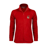 Ladies Fleece Full Zip Red Jacket-SLU Flag