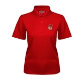 Ladies Red Dry Mesh Polo-SLU Flag