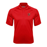 Red Textured Saddle Shoulder Polo-Official Shield