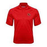 Red Textured Saddle Shoulder Polo-SLU
