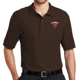 Brown Easycare Pique Polo-Official Logo