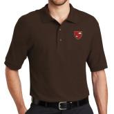 Brown Easycare Pique Polo-Official Shield