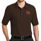 Brown Easycare Pique Polo-SLU