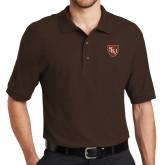 Brown Easycare Pique Polo-SLU Shield