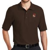 Brown Easycare Pique Polo-SLU Flag