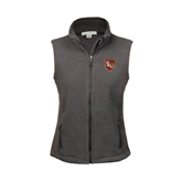 Ladies Fleece Full Zip Charcoal Vest-SLU Shield