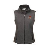 Ladies Fleece Full Zip Charcoal Vest-SLU Flag