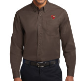 Brown Twill Button Down Long Sleeve-Official Shield