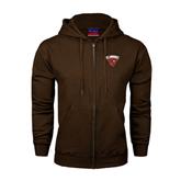 Champion Brown Fleece Full Zip Hood-Official Logo