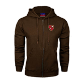 Champion Brown Fleece Full Zip Hood-Official Shield