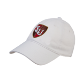 White Twill Unstructured Low Profile Hat-SLU Shield