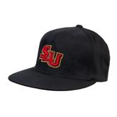 Black OttoFlex Flat Bill Pro Style Hat-SLU