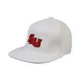 White OttoFlex Flat Bill Pro Style Hat-SLU