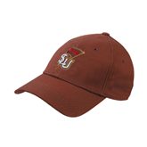 Brown Twill Unstructured Low Profile Hat-SLU Flag