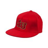 Red OttoFlex Flat Bill Pro Style Hat-SLU