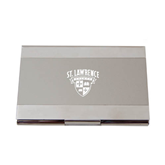 Dual Texture Silver Business Card Holder-Saints Shield Engraved