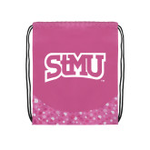 Nylon Pink Bubble Patterned Drawstring Backpack-Arched StMU