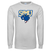 White Long Sleeve T Shirt-StMU with Rattler