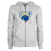 ENZA Ladies White Fleece Full Zip Hoodie-StMU with Rattler