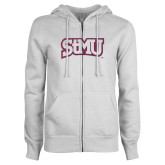 ENZA Ladies White Fleece Full Zip Hoodie-Arched StMU Pink Glitter