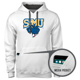 Contemporary Sofspun White Hoodie-StMU with Rattler