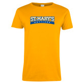 Ladies Gold T Shirt-Arched St. Marys Rattlers