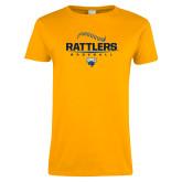 Ladies Gold T Shirt-Rattlers Baseball Half Ball