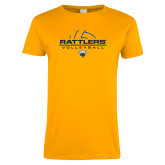 Ladies Gold T Shirt-Rattlers Volleyball Half Ball