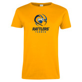 Ladies Gold T Shirt-Rattlers Tennis Abstract Ball