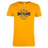 Ladies Gold T Shirt-Rattlers Softball Seams