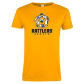 Ladies Gold T Shirt-Rattlers Soccer Geometric Ball
